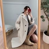 雙排扣呢子外套女2019秋冬新款韓版寬松英倫風中長款斗篷毛呢大衣
