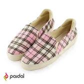 Paidal 英倫時尚格紋休閒鞋樂福懶人鞋--甜心粉