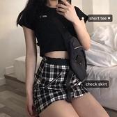 韓國INS復古原宿風修身短款T恤 高腰短裙格子半身裙女套裝