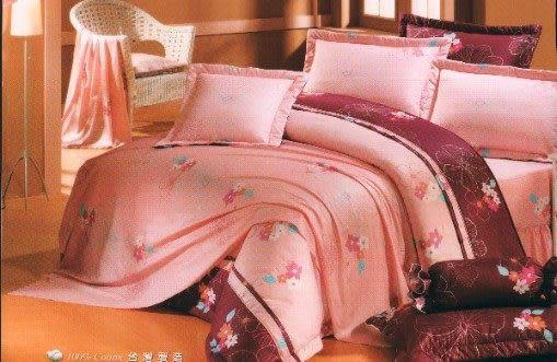 單品-床包 (不含被套)-油桐花(粉)、100%精梳棉【雙人床包5X6.2尺/枕套】