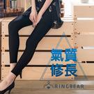 內搭褲--優雅氣質個性休閒鬆緊腰頭超彈力絲滑薄款內搭光澤褲(黑L-5L)-R182眼圈熊中大尺碼