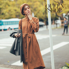 Queen Shop【01084775】單口袋排釦綁帶長襯衫洋裝 兩色售*現+預*