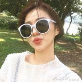 太陽鏡女 韓版太陽眼鏡女潮偏光復古圓形白色墨鏡大框圓臉   蜜拉貝爾