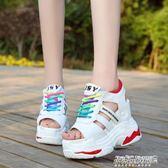 涼鞋子女內增高女鞋顯瘦超高跟鏤空鬆糕厚底休閒運動    傑克型男館