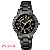 WICCA 星辰副牌 公主系列 可愛黑金數字黑色鋼帶女錶 32mm BT2-742-51 公司貨保固1年 | 名人鐘錶