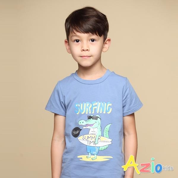 Azio 男童 上衣 夏日恐龍衝浪印花短袖上衣T恤(藍) Azio Kids 美國派 童裝