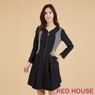 RED HOUSE-蕾赫斯-格紋剪接修身洋裝(黑色)
