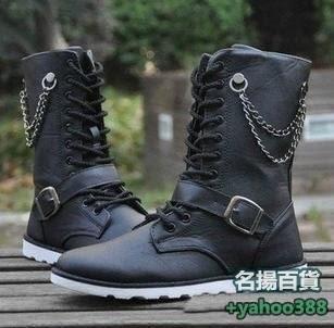 不二579英倫男靴子馬靴男靴子鏈條裝飾高筒靴韓版男士機車靴長靴金屬搭扣牛仔靴繫