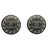 CHANEL 香奈兒 黑色壓克力銀色logo夾式耳環 耳夾 【BRAND OFF】