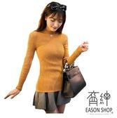 EASON SHOP(GU9973)韓版純色坑條紋短版套頭小高領長袖毛衣羅紋針織衫女上衣服彈力貼身內搭衫卡其色