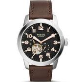 【台南 時代鐘錶 FOSSIL】ME3118 領航員 鏤空視窗典雅腕錶機械錶 黑 44mm 公司貨 開發票