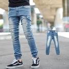 長褲 刷白小抓破窄版彈性牛仔褲縮口褲【NB0596J】