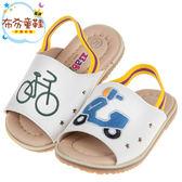 《布布童鞋》可愛單車歐兜邁白色護趾鬆緊帶寶寶拖鞋(13~15公分) [ K8B864M ]