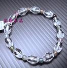 天然白水晶加碧璽手鍊*鑽石切面~3A級 超亮眼