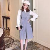 秋季新款韓版無袖背心裙系帶收腰A字連衣裙 簡約氣質襯衫上衣套裝