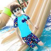 兒童泳衣男童泳褲套裝男孩分體小中大童恐龍游泳衣寶寶游泳裝【寶貝小鎮】