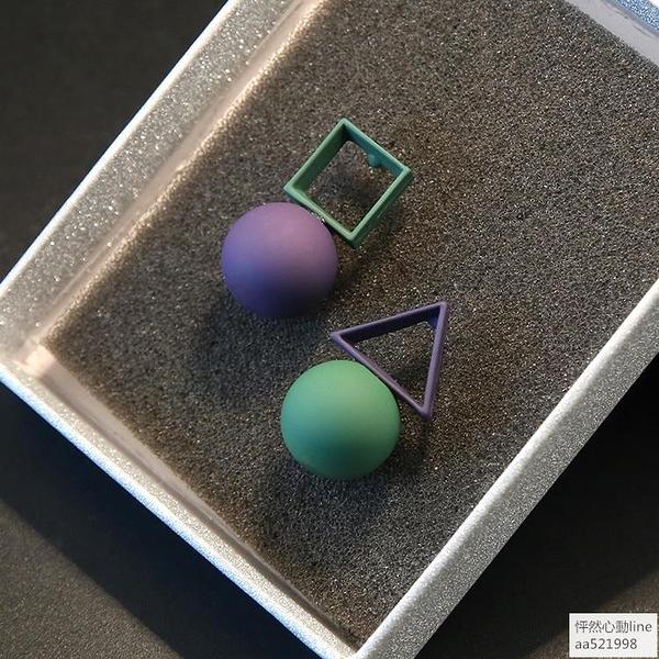 純銀個性不對稱AB款耳環女簡約三角形幾何防過敏耳釘氣質耳飾 怦然心動