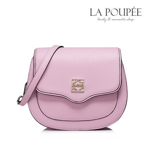 側背包 質感真皮簡約弧形掀蓋馬鞍包 2色-La Poupee樂芙比質感包飾 (現貨+預購)