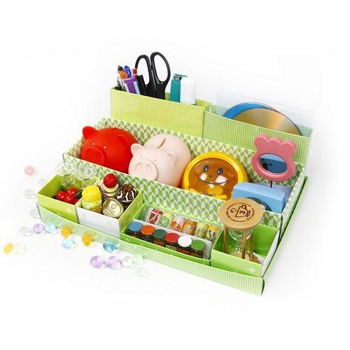 【創意小物】DIY 可愛桌面7分格收納盒 / 置物盒-綠色 (免運)