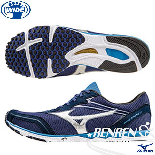 MIZUNO 美津濃 WAVE CRUISE 11 寬楦男路跑鞋 (丈青*銀) 初級馬拉松鞋 日本同步