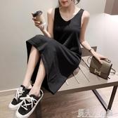 秋季新款寬鬆吊帶針織洋裝女中長款內搭打底裙背心長裙黑色 錢夫人