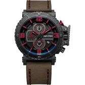 RHYTHM日本麗聲 運動系列大錶徑計時手錶-黑x卡其/46mm I1401I04
