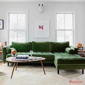 L型沙發 北歐輕奢轉角布藝沙發客廳L小型貴妃乳膠藍色絨布三人位沙發組合T