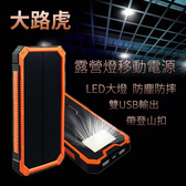 快速出貨 20000mAh超大容量太陽能戶外行動電源 自帶露營燈 USB雙口雙孔雙電雙充行動電源