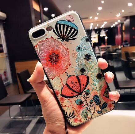 【SZ15】iPhone 7/8plus手機殼 浮雕卡通蒲公英+掛繩  iPhone 7/8 iphone 6 plus 手機殼