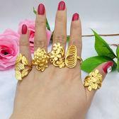 日韓仿金飾品食指指環個性沙金戒指女可調節歐幣鍍金女戒久不掉色「韓風物語」