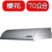 (全省安裝)櫻花【R-3012S】70公分單層式不鏽鋼排油煙機 優質家電