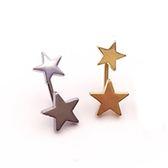 316L醫療鋼 五角星星 後勾旋轉式耳環-金、銀 防抗過敏 單支販售