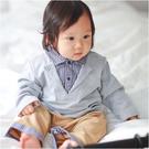 長袖連身衣 學院風 格紋 假三件 男寶寶 爬服 哈衣 小紳士 小花童 Augelute Baby 70109