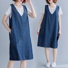 休閒風牛仔套裝洋裝(上衣+背心裙)-大尺...