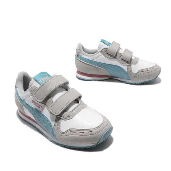 Puma 慢跑鞋 Cabana Racer SL V PS 白 藍 童鞋 中童鞋 魔鬼氈 【ACS】 36073278