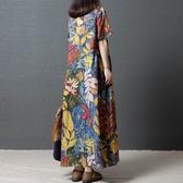 2020夏季新款複古文藝民族風女裝寬鬆大碼印花長裙短袖棉麻洋裝 美芭
