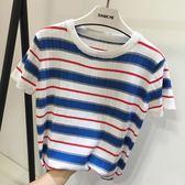 冰絲針織短袖女夏新款韓范寬鬆ins超火的上衣chic藍白條紋t恤    韓小姐