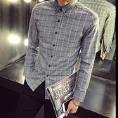 加絨襯衫-簡約俐落磨毛格子男長袖上衣72am12【巴黎精品】