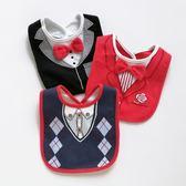 男寶防水口水巾男寶寶紳士領結圍兜嬰兒純棉圍嘴0-3歲口水兜春夏
