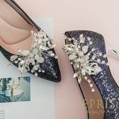 韓國直送手工獨家訂製 翩翩起舞蝴蝶花 婚鞋推薦飾扣鞋夾