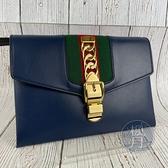 BRAND楓月 GUCCI 古馳 477627 SYLVIE 藍色 皮革 金扣 綠紅綠織帶 手拿包 隨身小包