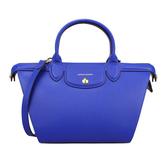 LONGCHAMP新款Le Pliage Heritage全牛皮小型手提肩背水餃包(藍色)480601-4