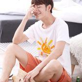 男士睡衣夏季短袖短褲薄款青年韓版夏天全棉家居服套裝加大碼   八折免運 最後一天