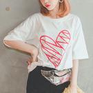 MUMU【T33133】塗鴉愛心寬鬆舒適短袖T恤。兩色
