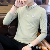 男士長袖t恤潮流襯衫領翻領POLO衫中大尺碼zzy7169 『時尚玩家』