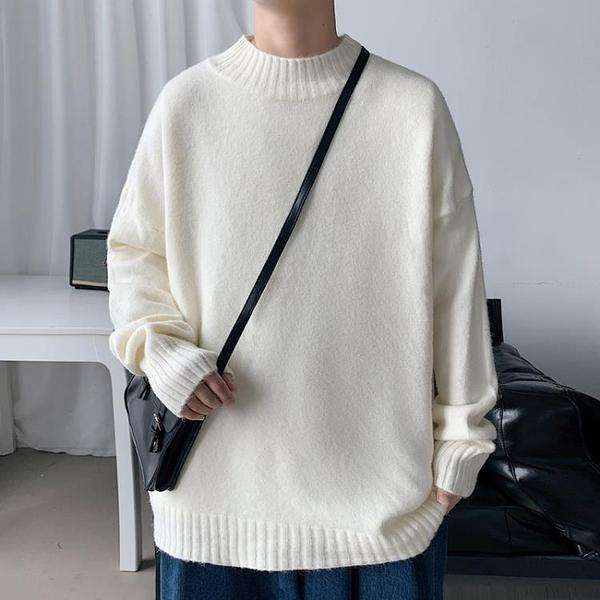 毛衣 冬季半高領男毛衣秋冬2021寬鬆白色加絨針織衫線衣保暖衣服打底衫 伊蒂斯 交換禮物