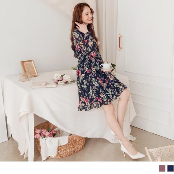 《DA8301-》浪漫花卉雪紡彈力縮腰魚尾洋裝 OB嚴選