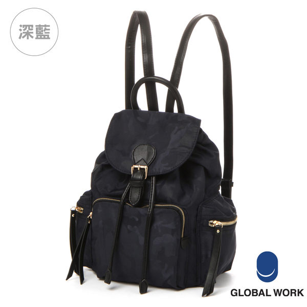 GLOBAL WORK女多功能細背帶尼龍束口後背包-三色