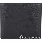 PRADA Saffiano 家徽烙印防刮牛皮八卡對折短夾(黑色) 1840495-01