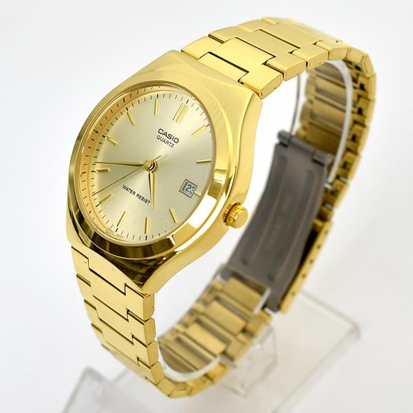 CASIO手錶 極簡風格日期窗金色鋼錶NECE42